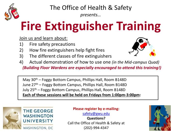the office of health safety p resents fire extinguisher training n.