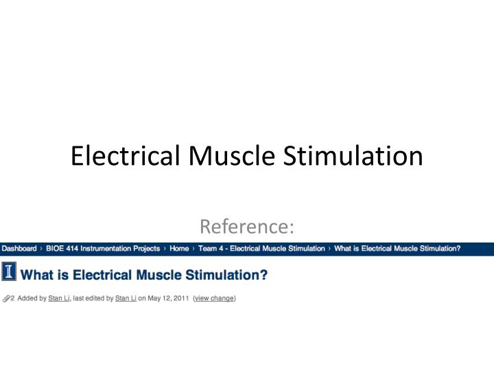 electrical muscle stimulation n.