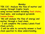 Monday TEK 12C: Analyze the flow of matter and energy through trophic levels