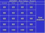 JEOPARDY – River Valleys – Round 2