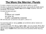 The More the Merrier: Plurals
