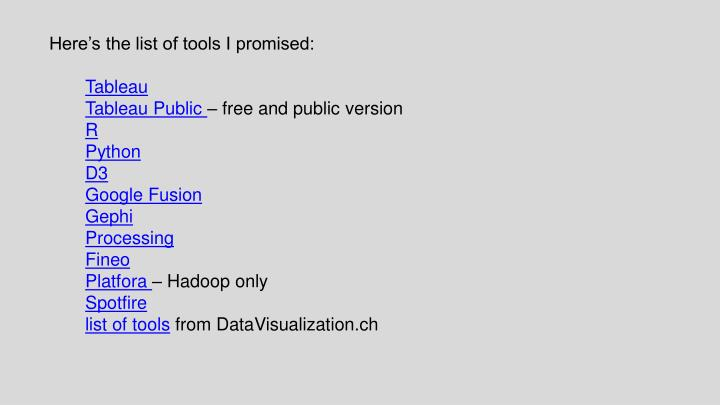 PPT - Here's the list of tools I promised: Tableau Tableau Public