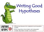 Writing Good Hypotheses