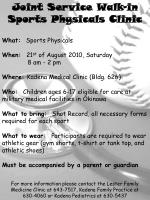 Joint Service Walk-in Sports Physicals Clinic
