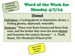 Word of the Week for Monday 4/7/14