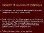 Principles of Government: Definitions