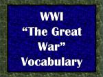"""WWI """"The Great War"""" Vocabulary"""