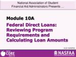 Federal Direct  Loans:  Reviewing Program  Requirements  and Calculating Loan Amounts