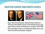 WAR FOR EUROPE AND NORTH AFRICA