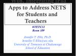 W08. Integrating iPad Apps to Address NETS for Students and Teachers