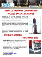 VEHICLE EXHAUST COMPLIANCE NOTICE OF DATE CHANGE