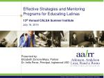 Effective Strategies and Mentoring Programs for Educating Latinas