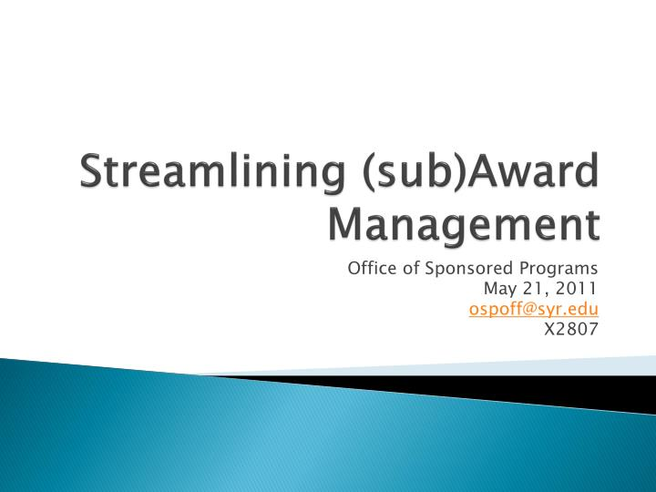 streamlining sub award management n.