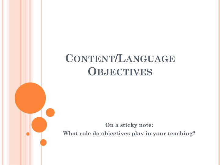 content language objectives n.