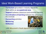 Ideal Work-Based programs