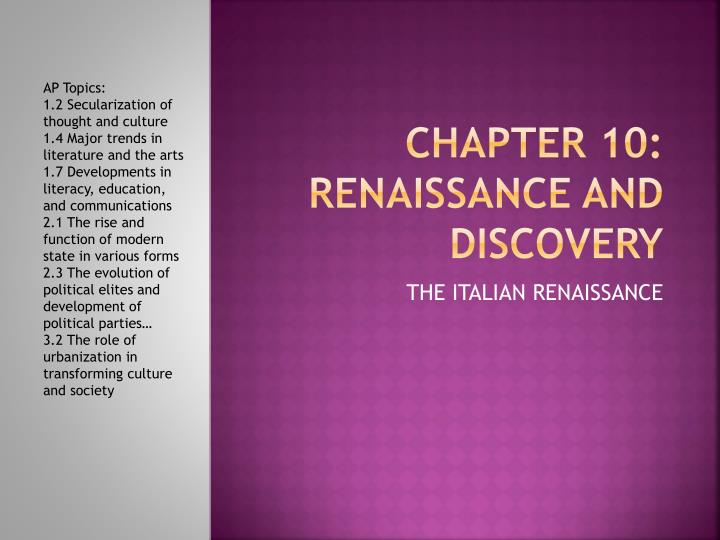 chapter 10 renaissance and discovery n.