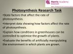 Photosynthesis Research Task