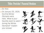 Title: Pericles ' Funeral Oration
