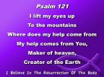 Psalm 121 I lift my eyes up  To the mountains  Where does my help come from