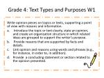 Grade  4 :  Text Types and Purposes W1