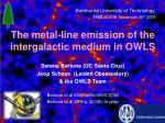 T he metal-line emission of the intergalactic medium in OWLS