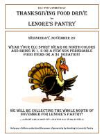 ELC PTO's SPIRIT DAY Thanksgiving Food Drive for Lenore's Pantry