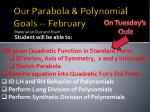 Our Parabola & Polynomial Goals -- February