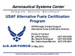 USAF Alternative Fuels Certification Program