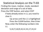 Statistical Analysis on the TI-83