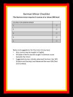 German Minor Checklist The German minor requires 5 courses at or above 200-level .