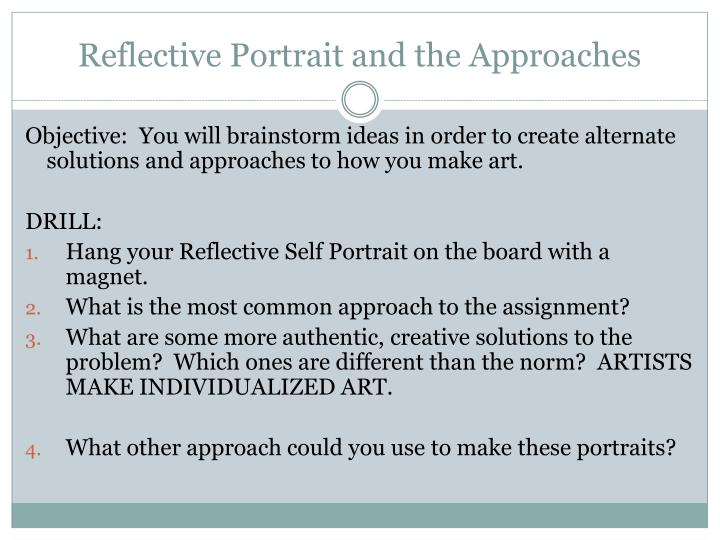 reflective portrait and the approaches n.