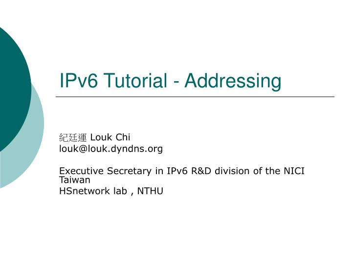 ipv6 tutorial addressing n.