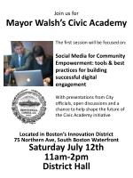 Join us for Mayor Walsh's Civic Academy