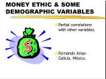 MONEY ETHIC & SOME DEMOGRAPHIC VARIABLES