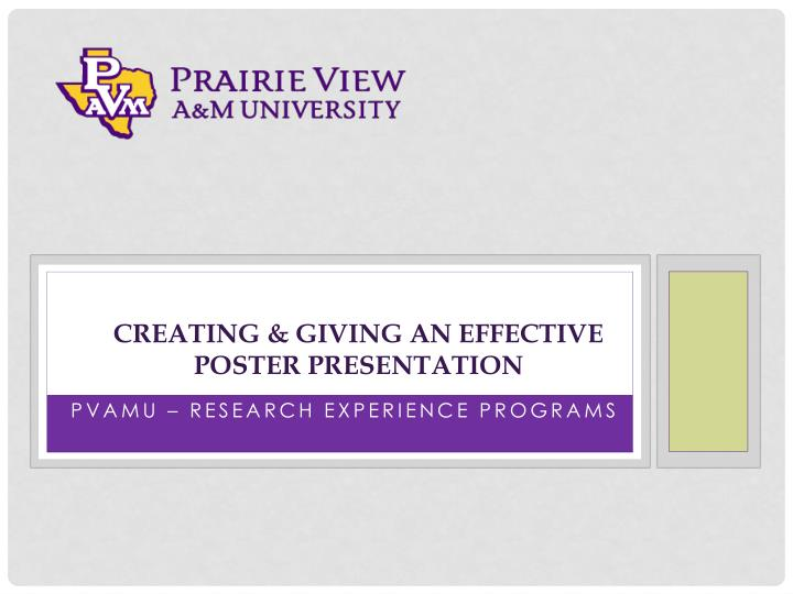 creating giving an effective poster presentation n.