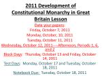 2011 Development of Constitutional Monarchy in Great Britain Lesson