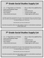 7 th Grade Social Studies Supply List