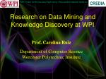 Research on Data Mining and Knowledge Discovery at WPI