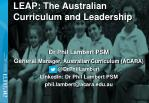 LEAP: The Australian Curriculum and Leadership