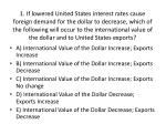 A ) International Value of the Dollar Increase; Exports Increase