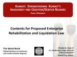 Contents for Proposed Enterprise Rehabilitation and Liquidation Law