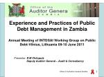 Experience and Practices of Public Debt Management in Zambia