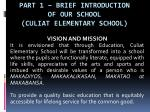 PART 1 – Brief Introduction of Our School (CULIAT ELEMENTARY SCHOOL)