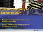 Disaster Recovery in Exchange 2007
