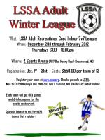 What: LSSA Adult Recreational Coed Indoor 7v7 League When: December 2011 through February 2012