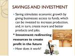 SAVINGS AND INVESTMENT
