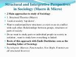 Structural and Interpretive Perspectives in Sociology (Macro & Micro)