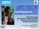 Inclusion of persons with disabilities in national AIDS policies and programmes in Africa: