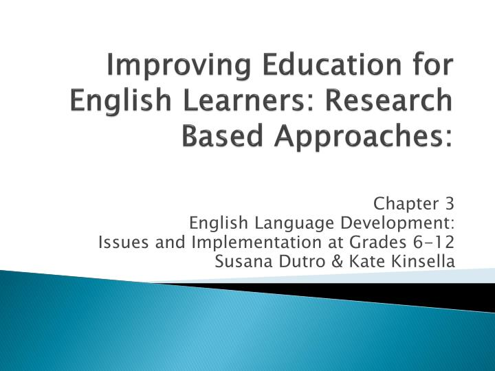 improving education for english learners research based approaches n.