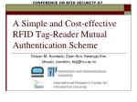 A Simple and Cost-effective RFID Tag-Reader Mutual Authentication Scheme